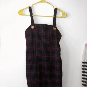 Petite Plaid Red /Blue Mini Overall Dress